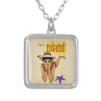 Vintage Miami Beach Square Pendant Necklace