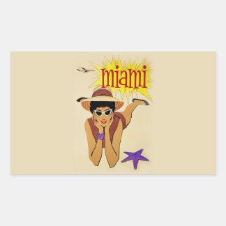 Vintage Miami Beach Rectangular Stickers