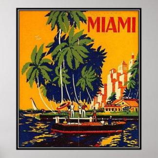 Vintage Miami, la Florida, los E.E.U.U. - Póster