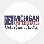 Vintage Michigan del Partido Verde del voto en Pegatina Redonda
