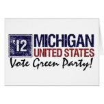 Vintage Michigan del Partido Verde del voto en Tarjeta De Felicitación