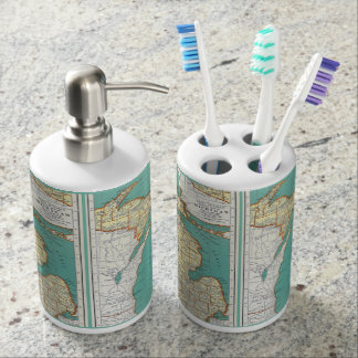 Vintage Michigan Map Bath Set
