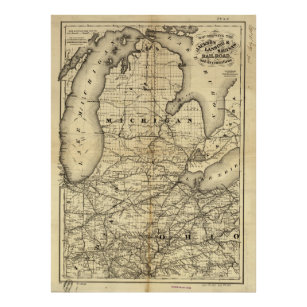 Michigan State Map Posters Photo Prints Zazzle