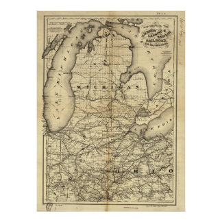 Vintage Michigan, Ohio and Indiana Railroad Map Poster