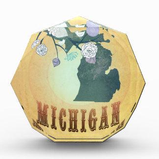 Vintage Michigan State Map- Passion Fruit Yellow Award