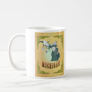 Vintage Michigan State Map- Passion Fruit Yellow Coffee Mug