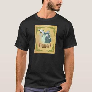 Vintage Michigan State Map- Passion Fruit Yellow T-Shirt