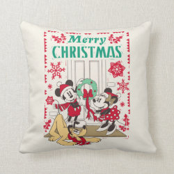 Vintage Mickey & Friends | Merry Christmas Throw Pillow