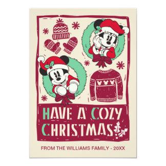 Vintage Mickey & Mickey | Have a Cozy Christmas Card