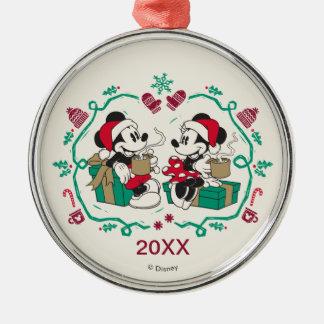 Vintage Mickey & Minnie   Cozy Christmas Metal Ornament