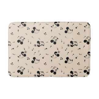 Vintage Mickey & Minnie Music Pattern Bathroom Mat