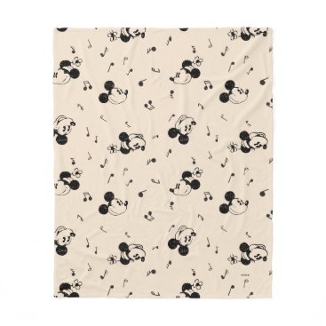 Disney Themed Vintage Mickey & Minnie Music Pattern Fleece Blanket