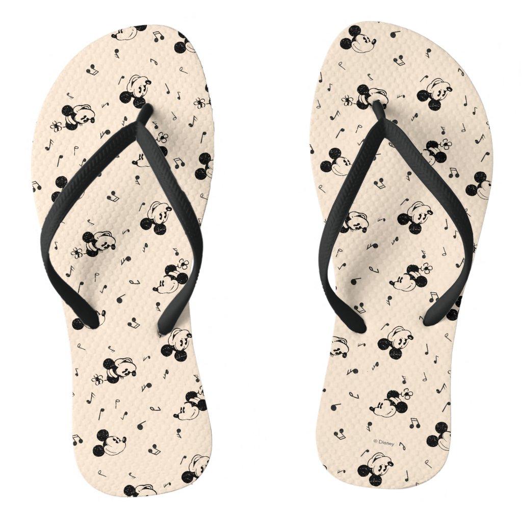 Vintage Mickey & Minnie Music Pattern Flip Flops