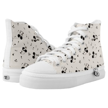 Disney Themed Vintage Mickey & Minnie Music Pattern High-Top Sneakers