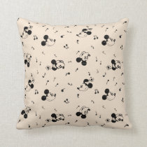 Vintage Mickey & Minnie Music Pattern Throw Pillow