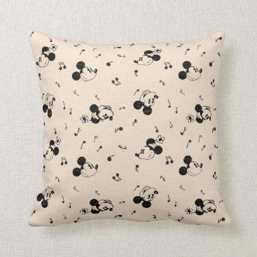Disney Themed Vintage Mickey & Minnie Music Pattern Throw Pillow