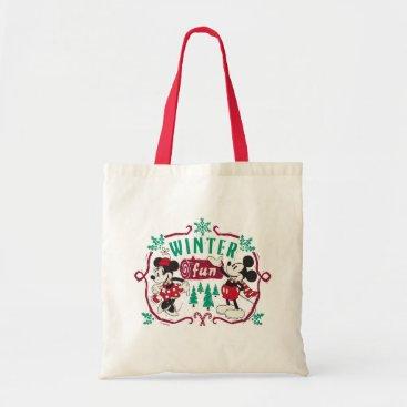 Disney Themed Vintage Mickey & Minnie | Winter Fun Tote Bag
