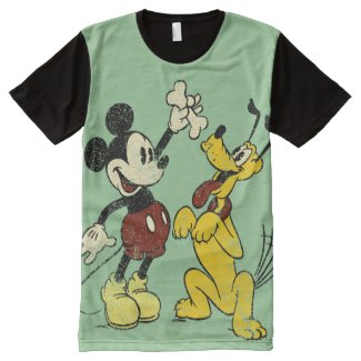 Vintage Mickey Mouse and Pluto All-Over-Print Shirt