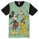 Vintage Mickey Mouse and Pluto All-Over Print Shirt