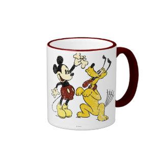 Vintage Mickey Mouse and Pluto Ringer Coffee Mug