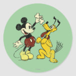 Vintage Mickey Mouse and Pluto Classic Round Sticker