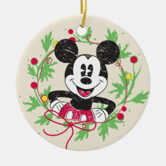 Vintage Mickey Mouse | Christmas Wreath Ceramic Ornament