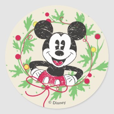 Disney Themed Vintage Mickey Mouse | Christmas Wreath Classic Round Sticker