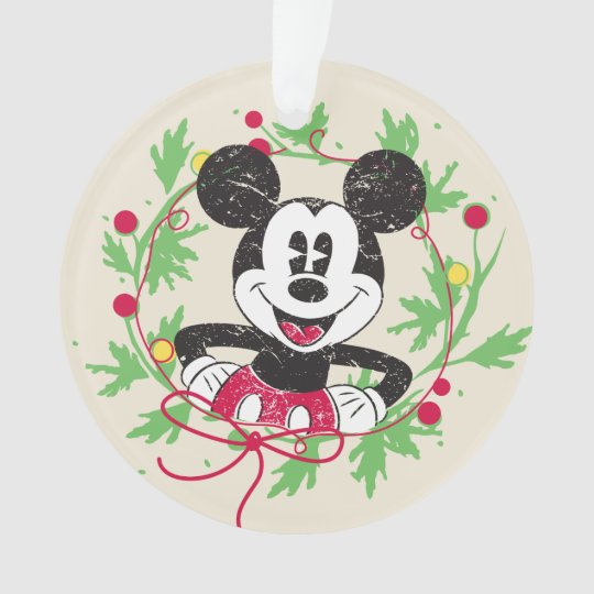 vintage mickey mouse christmas wreath ornament - Mickey Mouse Christmas Wreath