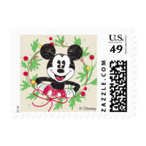 Vintage Mickey Mouse | Christmas Wreath Postage