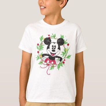 Disney Themed Vintage Mickey Mouse | Christmas Wreath T-Shirt
