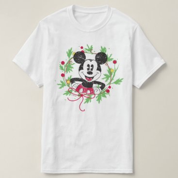 Disney Themed Vintage Mickey Mouse | Christmas Wreath T-Shirt