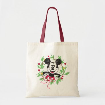 Disney Themed Vintage Mickey Mouse | Christmas Wreath Tote Bag