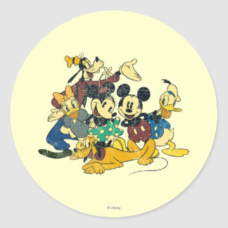 Vintage Mickey Mouse & Friends Classic Round Sticker
