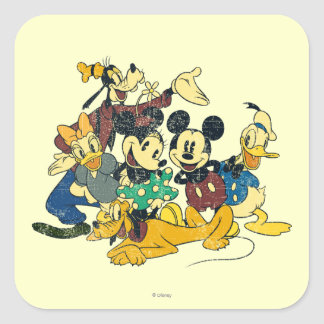 Vintage Mickey Mouse & Friends Square Sticker