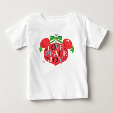 Disney Themed Vintage Mickey Mouse | Love, Peace & Joy Baby T-Shirt