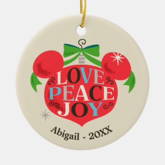 Vintage Mickey Mouse | Love, Peace & Joy Ceramic Ornament