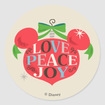 Disney Themed Vintage Mickey Mouse | Love, Peace & Joy Classic Round Sticker