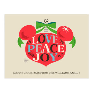 Vintage Mickey Mouse | Love, Peace & Joy Postcard
