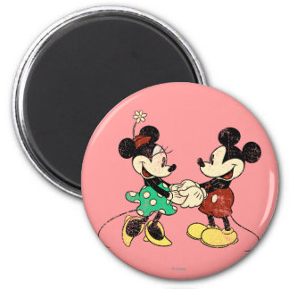Vintage Mickey Mouse & Minnie 2 Inch Round Magnet