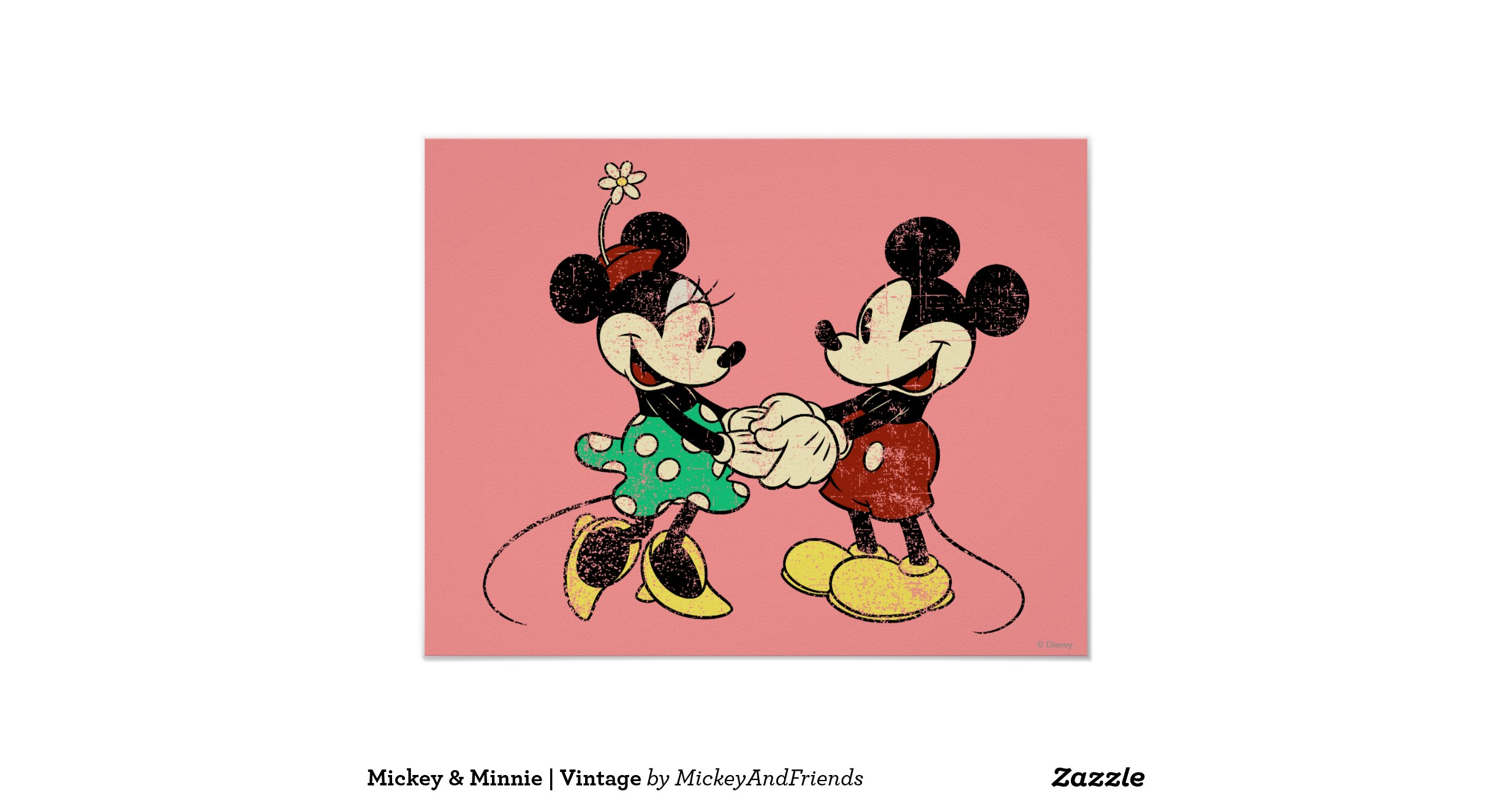 Vintage mickey mouse minnie posters zazzle - Mickey mouse minnie cienta ...