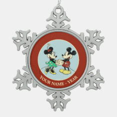 Vintage Mickey Mouse & Minnie Snowflake Pewter Christmas Ornament at Zazzle
