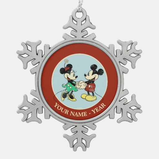 Vintage Mickey Mouse & Minnie Snowflake Pewter Christmas Ornament