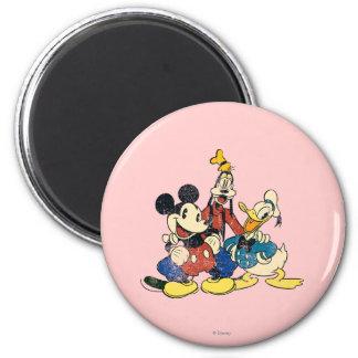 Vintage Mickey Mouse y amigos 2 Imán Redondo 5 Cm