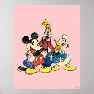 Vintage Mickey Mouse y amigos 2 Póster