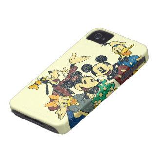 Vintage Mickey Mouse y amigos Case-Mate iPhone 4 Coberturas