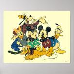 Vintage Mickey Mouse y amigos Póster