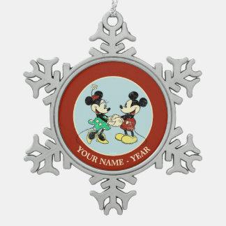 Vintage Mickey Mouse y Minnie Adorno De Peltre En Forma De Copo De Nieve