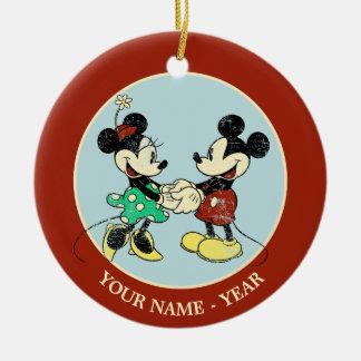 Vintage Mickey Mouse y Minnie Adorno Navideño Redondo De Cerámica