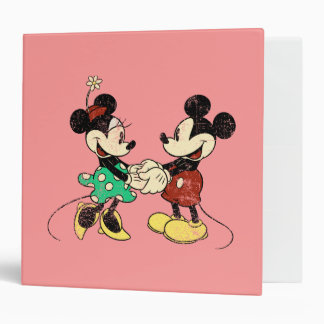 Vintage Mickey Mouse y Minnie Carpeta 2""