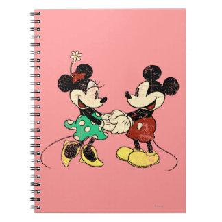 Vintage Mickey Mouse y Minnie Cuaderno